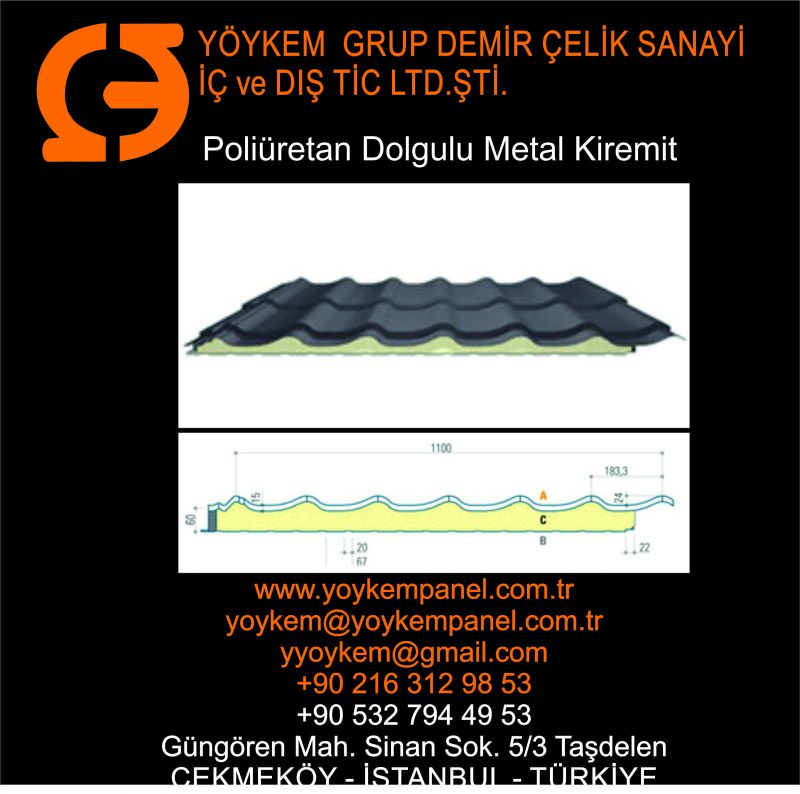 Metal Kiremit Desenli Sandviç Panel
